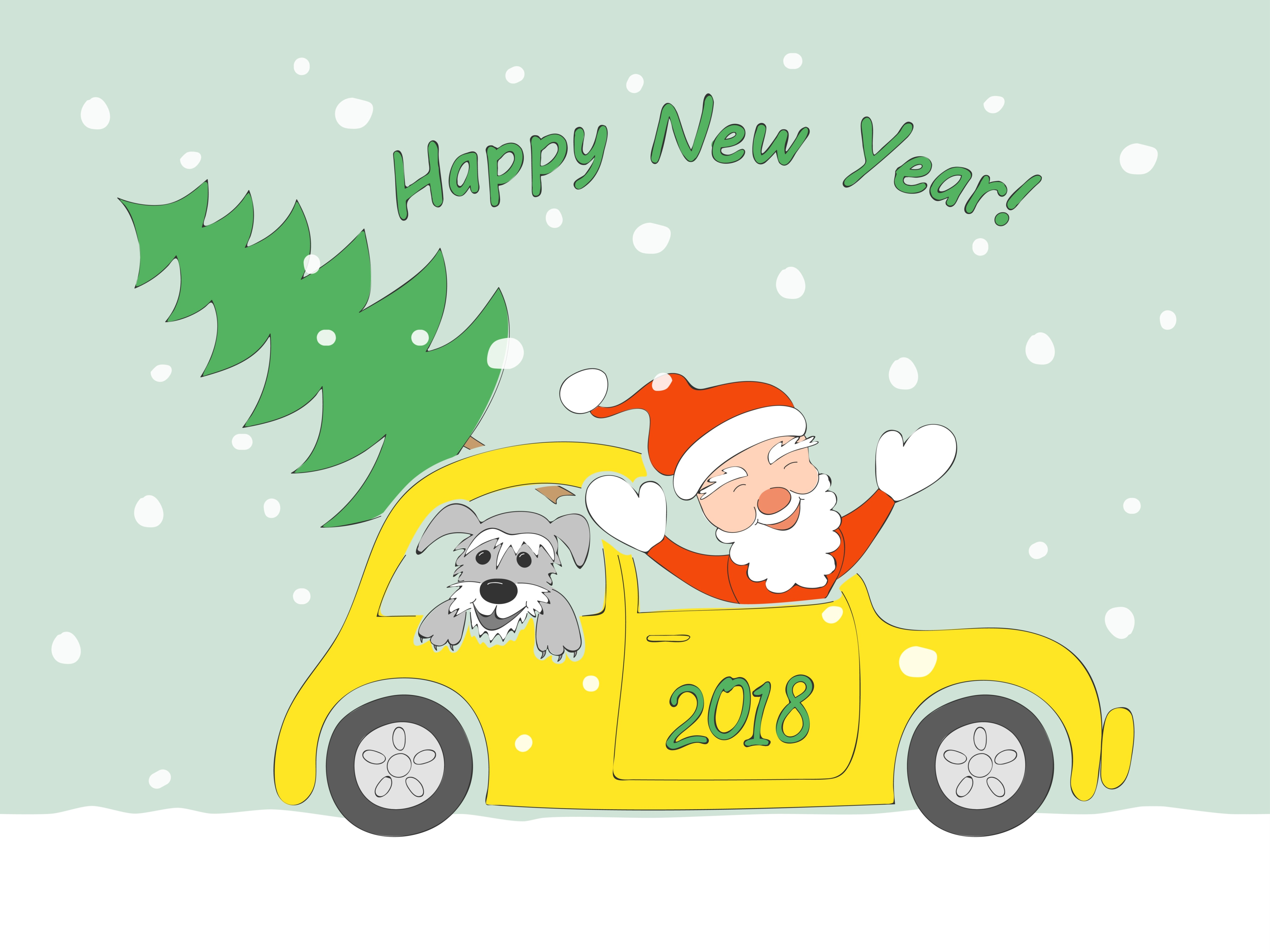 Funny cartoon santa claus, happy schnauzer puppy and christmas fir-tree in the retro auto and text Happy New Year on the snow background.