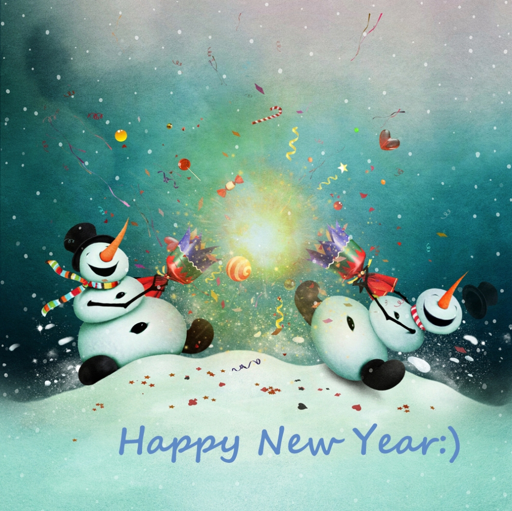 Two funny snowmen celebrate the new year.